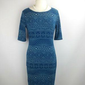 LulaRoe Julia style Blue & white Dress.Medium. J7
